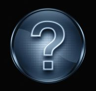 question symbol icon dark blue, isolated on black background